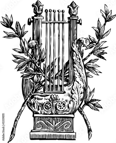 Photo  lyre with a branches