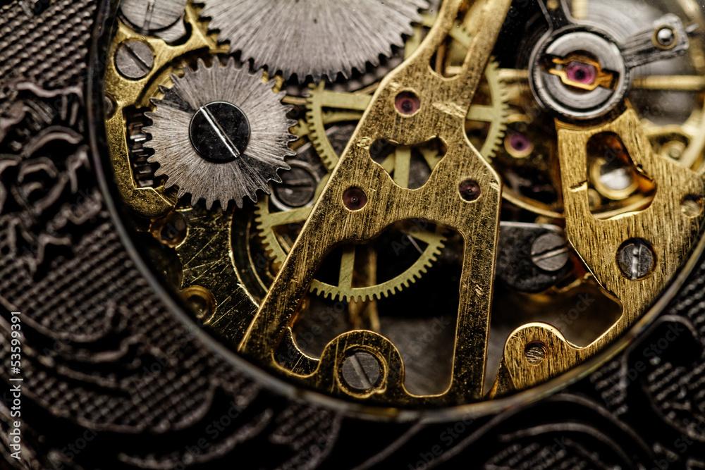 Fototapety, obrazy: Watch gears very close up