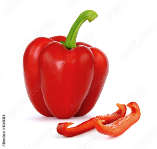 Fotografía  Red Bell Pepper on a white background