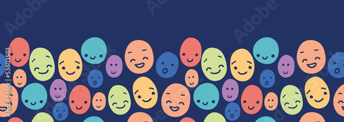 Canvas Print Vector funny faces horizontal seamless pattern background border