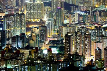 FototapetaCrowded downtown building in Hong Kong