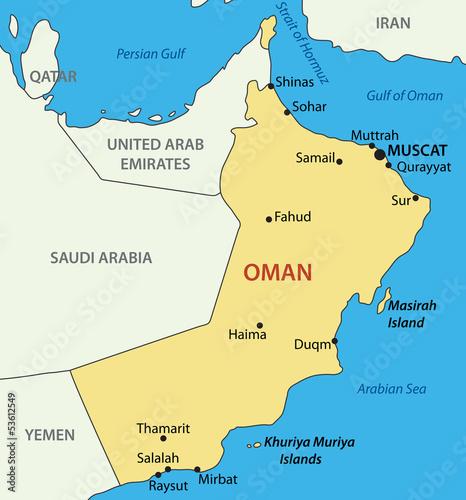 Fotografie, Obraz  Sultanate of Oman - vector map