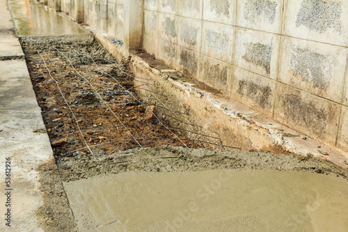 Photo  under construction road with fresh cement