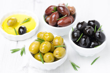 Three Kinds Of Olives In Bowls...