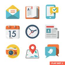 Basic Flat Icon Set For Web An...