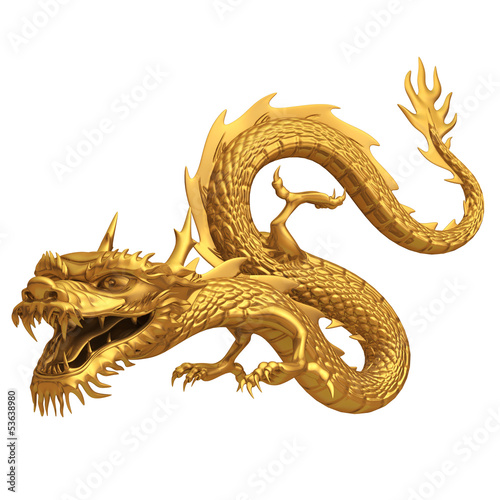 Fotografie, Tablou  3d render of golden dragon