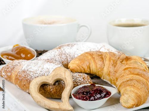 Guten Morgen Leckeres Frühstück Mit Kaffe Und Croissants
