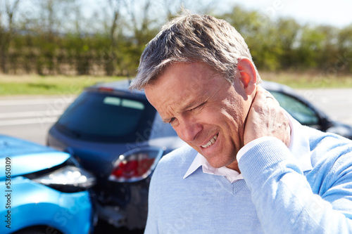 Cuadros en Lienzo Driver Suffering From Whiplash After Traffic Collision