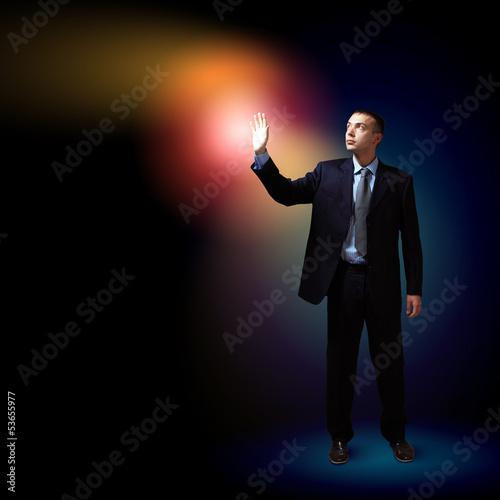 Photo Businessman with light shining