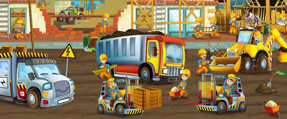 Obraz na płótnie Canvas On the construction site - illustration for the children