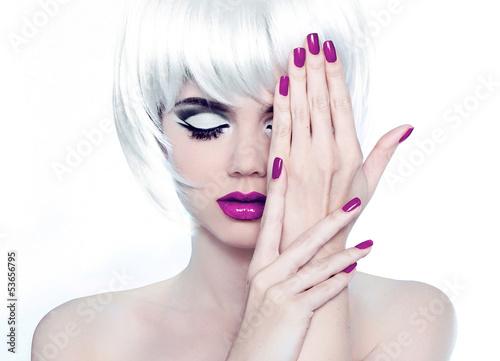 Makeup and Manicured polish nails. Fashion Style Beauty Woman Po Poster