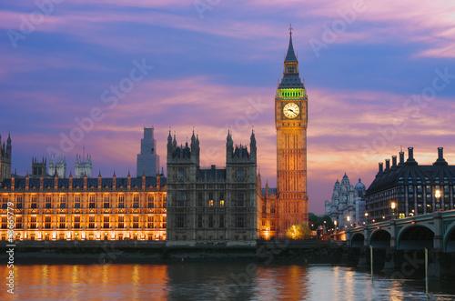 Big Ben In London At Twilight Canvas Print