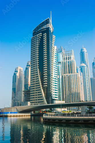 Fototapeta na wymiar High rise buildings and streets in Dubai, UAE
