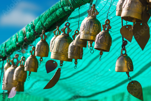 Poster de jardin Vert corail tradition asian bell in Big Buddha temple complex, Thailand
