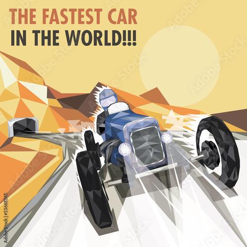Plakat na zamówienie Vintage Racing Car Poster