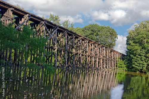 Tablou Canvas railroad trestle over river