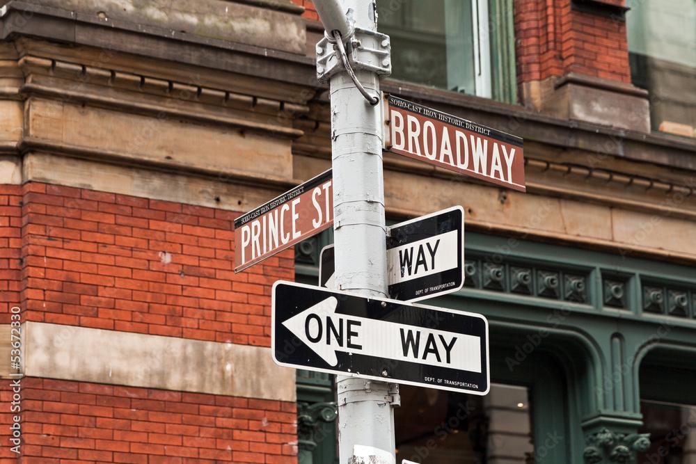 Wandbild Street Sign One way