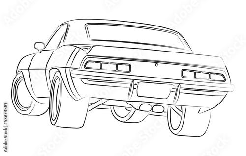 Staande foto Cartoon cars Muscle car drawing
