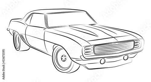 Staande foto Cartoon cars Muscle car drawing