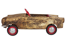 Vintage Toy Pedal Car Isolated On White