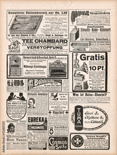 newspaper page with antique advertisement 1909
