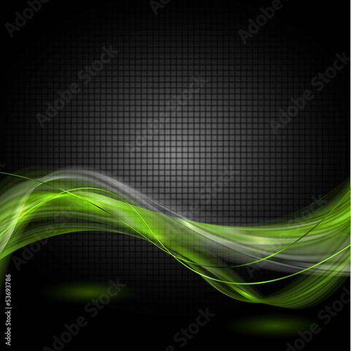 Fotografie, Obraz  seledynowe wstęgi na czarnym tle