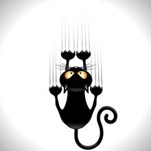 Cat Cartoon Scratching Wall-Ga...