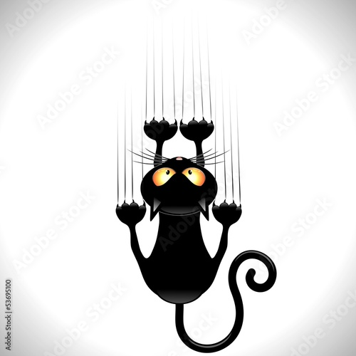 Door stickers Draw Cat Cartoon Scratching Wall-Gatto nero Graffia Muro