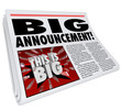 canvas print picture - Newspaper Headline Big Announcement Huge News