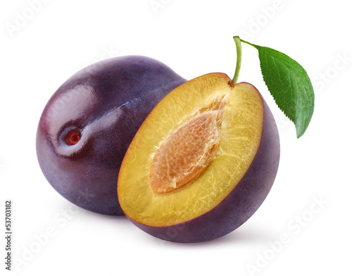Isolated plums. One and a half of blue plum fruit isolated on white background