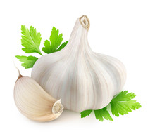 Isolated Garlic. Head Of Dried Garlic, One Segment And Parsley Leaves Isolated On White Background
