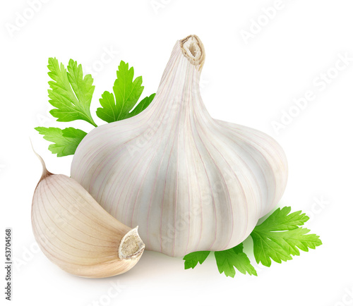 Fototapeta Isolated garlic. Head of dried garlic, one segment and parsley leaves isolated on white background obraz