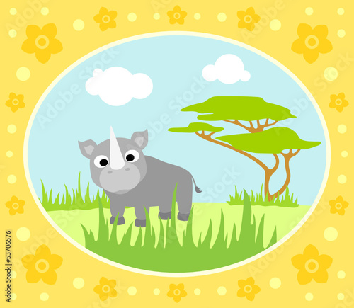 Safari background card with rhino