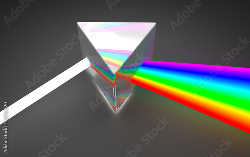 Valokuva  Prism light spectrum dispersion. On dark background
