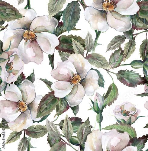 Wild Roses Seamless Pattern
