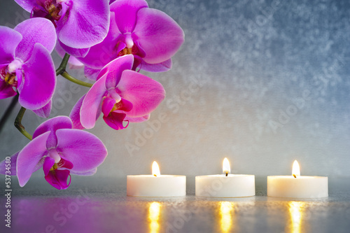Fotografering  Japan zen garden with orchid and candle lights