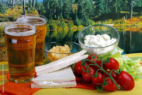 Fotografie, Obraz  Tramezzini con birra e crema di formaggio