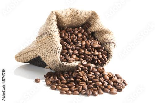 Papiers peints Café en grains coffee beans in brown bag.