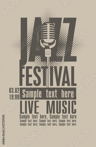Poster for the jazz festival with a retro microphone Poster