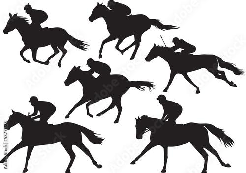 Fotografia Set of racing horses with jockeys vector drawings