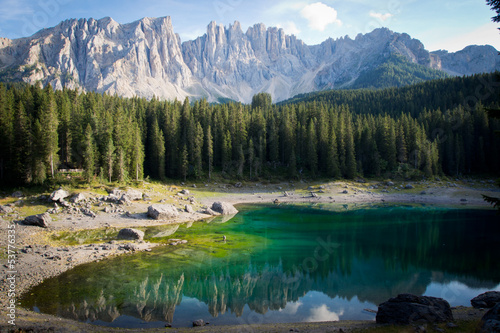 Picturesque Dolomites mountains with Lago de Carezza