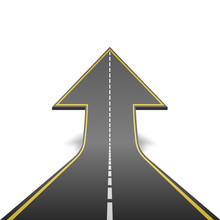 Straight Road Turning Into Ascending Arrow Concept