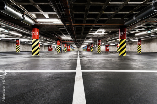 Fotografie, Obraz  Parking garage underground interior