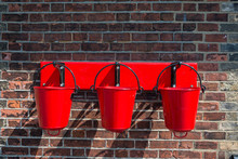Three Red Fire Buckets Wall Mo...