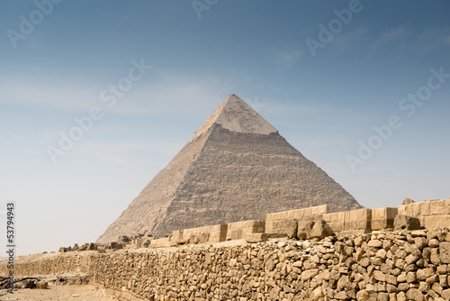 In de dag Egypte Pyramid of Khafre in Great pyramids complex in Giza
