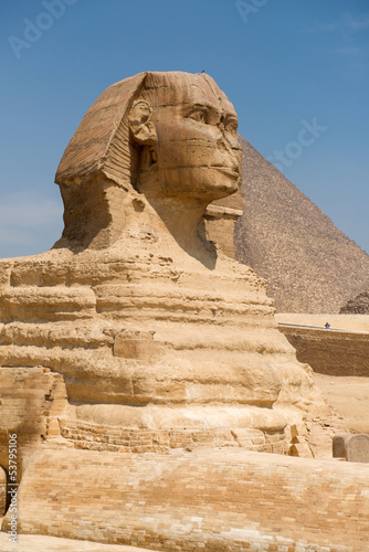 Famous ancient statue of Sphinx in Giza, Egypt #53795106