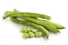 Broad Bean Pods On White Background