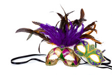 Two Mardi Gras Masks On White