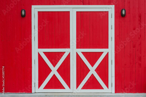 Closed red door Wallpaper Mural