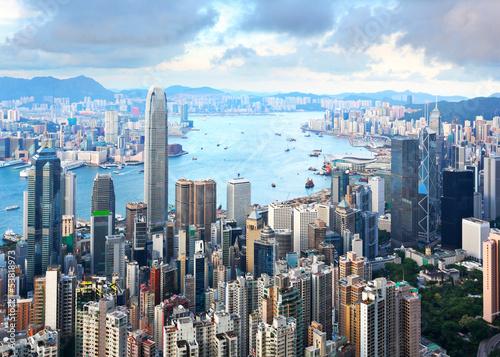 Türaufkleber Hongkong Hong Kong skyline